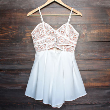 coco lace front wrap romper in ivory