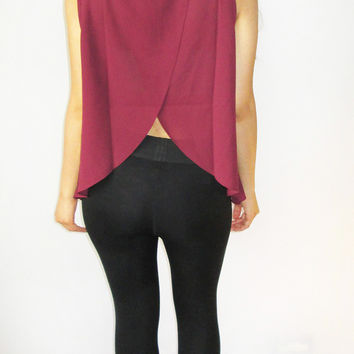 Sleeveless Top with faux leather trim & open back