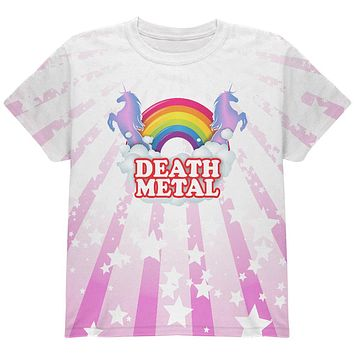 Death Metal Rainbow Unicorns All Over Youth T Shirt