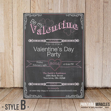 Chalkboard Valentine invitations / Printable Valentine's day celebration invite cards / Valentines printables / Valentine party inviation