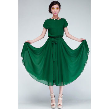 KettyMore Women Loose Fasten Waist Short Sleeved Empire Dress Green