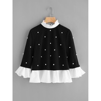 Contrast Frill Trim Pearl Embellished Top Black