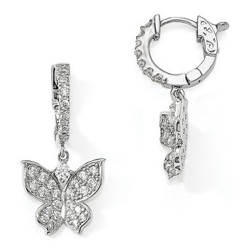 Sterling Silver Polished CZ Butterfly Hinged Hoop Dangle Earrings QE13021