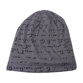 Bigood(TM) Men-Women Beret Beanie Ski Alphabet pattern Knit Personality Hat Gray