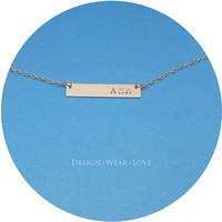 Custom Sorority Necklace - Greek Alphabet - Personalized 14k Gold Fill Nameplate Pendant Hand Stamped - Big Sis Little Sis Jewelry