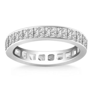 14K White Gold Eternity Ring with Channel Set Princess Cut Diamonds, size 8