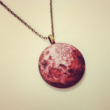 Large Red Moon Necklace  by RabbitJewellery on Etsy