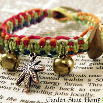 Hemp Bracelet, Hemp Bells Bracelet, Rainbow Hemp Bracelet, Cannabis Leaf Bracelet, Cannabis Jingle Bells Bracelet, Beaded Hemp Jewelry