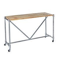 Industrial Pipe Console Table, Light iron with Natural Wood Top