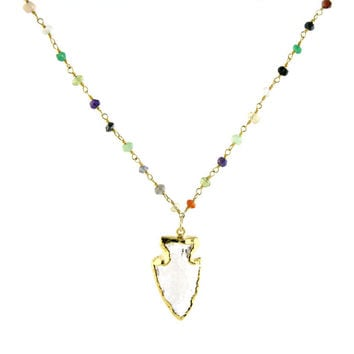 Crystal Arrow Multi-Gem Necklace