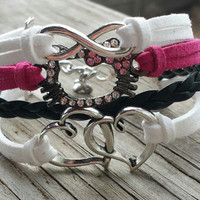 Hello Kitty Bracelet Heart Infinity Bracelet silver charms