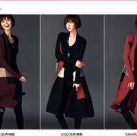 Long coat more relaxed joker fashion shawl cardigan color matching knitted sweaters
