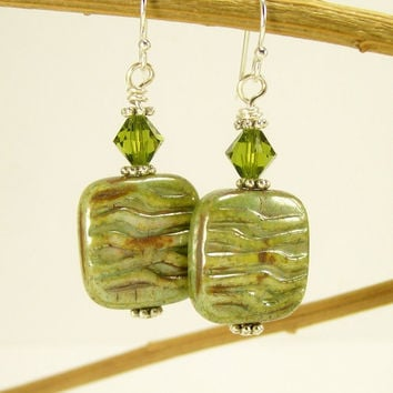 Olive Green Crystal and Glass Dangle Earrings / Beaded Jewelry / Sterling Ear Wires