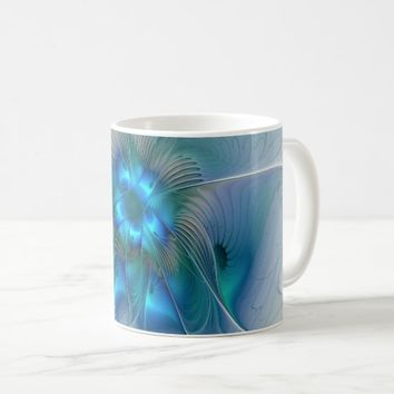 Standing Ovations, Abstract Blue Turquoise Fractal Coffee Mug