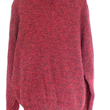 1970's Crewneck Sweater by Lands' End - Warm Wool Blend - Red w/ Black Heather - Men's Size Extra Large (XL)
