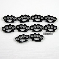 10 knuckle laser cut acrylic cabochons charms (black)