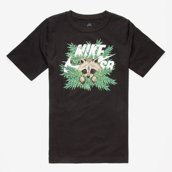 Nike Sb Raccoon Fern Icon Boys T-Shirt Black  In Sizes