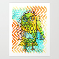 Owl Chevron Painting 9x12 Watercolor Original Acrylic Ink Illustration Wall Art Unframed OOAK Yellow Orange Green Blue