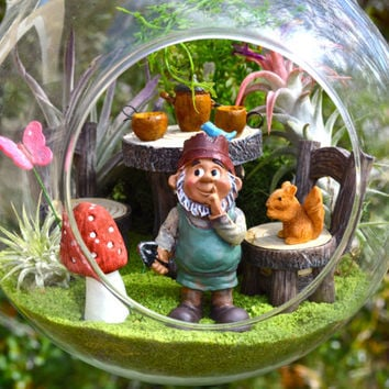 "Garden Gnome Terrarium Kit ~ 8"" Glass Globe ~ Table and Chairs ~ 3 Air plants ~ Mushroom ~ Sand and Animal Choice ~ Gardening ~ Gift Idea"