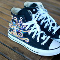 Hand Painted Doctor Who Exploding Tardis Hi Top Chuck Taylor Converse Sneakers