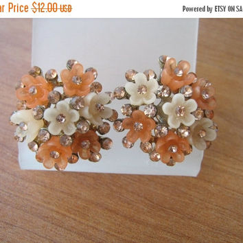 SALE Vintage Earrings Lucite Rhinestone Flower Pierced Earrings