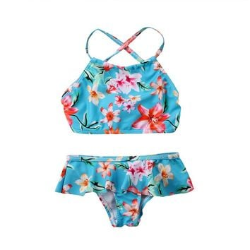 Baby Girl Swimsuit Flower Bathing Suits For Children Two Pieces Swimwear Brazilian Beach Bikini Set Girls Biquini Infantil Suit