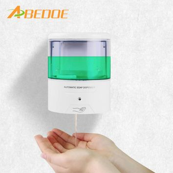 ABEDOE 600ml Wall-Mount Automatic IR Sensor Soap Dispenser Touch-free Battery Powered Soap Lotion Pump for Kitchen Bathroom