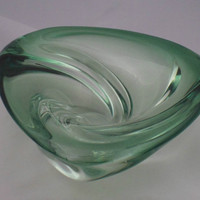 Gorgeous Val St Lambert trefoil bowl. Heavy belgian art glass bowl - signed