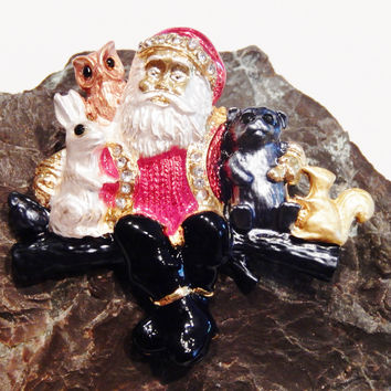 18k Gold Plated Santa Claus Christmas Pin Brooch