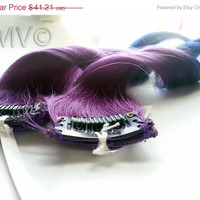 "Save - ON SALE NOW 14"" Galaxy Kiss 100% human hair extensions Ombre Dip Dye Purple Blue Clip In"