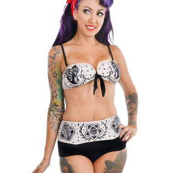 Too Fast Wendy High Waist Bikini Patchwork Swimsuit Swallows Anchors Roses