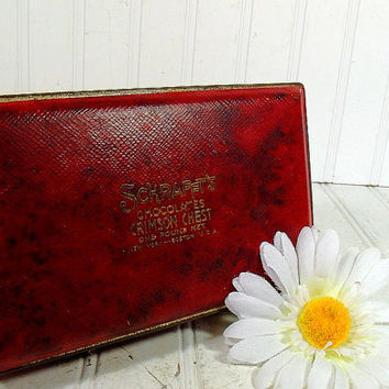Vintage Schrafft's Chocolates Crimson Chest - Large Dark Red Textured Candy Tin - Gold Embossed Ruby Covered Deep Metal Box