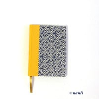 2015 Daily Planner, A6 Agenda, wax batik blue yellow
