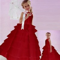 NWT Brand New Flower Girl Red Wedding Layers Dress