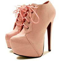 Elena Stiletto Heel Lace Up Concealed Platform Ankle Boots - Faint Pink -  from Spy Love Buy UK