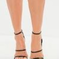 Missguided - Black Snake Print Three Strap Barely There Heels
