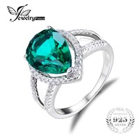 JewelryPalace Pear 4ct Green Created Emerald Engagement Wedding Ring Genuine Pure 925 Sterling Silver Luxury