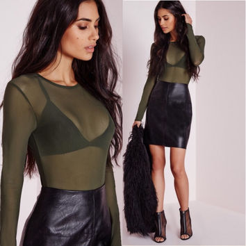 Allure Mesh Top Olive