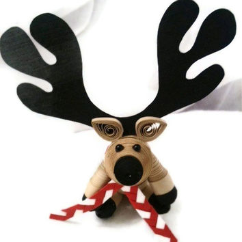 Reindeer Christmas Ornament Paper Quilled by WintergreenDesign