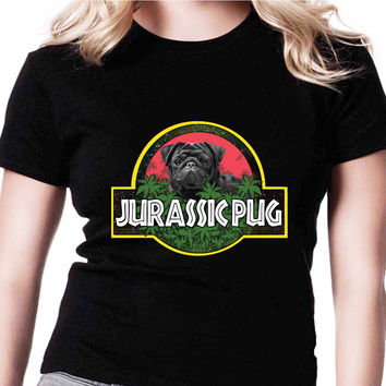 Jurassic Pug Jurassic Park Parody AMR Womens T Shirts Black And White
