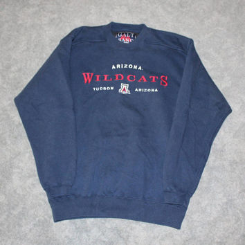 Vintage 90s University of Arizona Tuscon Wildcats Mens Size Large Oversized Womens Retro Embroidered Long Sleeve College Crewneck Sweatshirt
