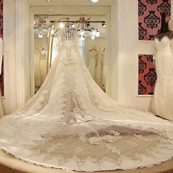 A-Line Luxury Satin Ivory Cathedral Train Floor-Length Wedding Dress