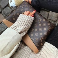 LV Louis Vuitton Classic Fashion Women Men Retro Monogram Leather Office Bag Zipper Wallet Purse Handbag Tote
