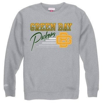 Mitchell & Ness Green Bay Packers NFL Training Room Crew Sweatshirt - Gray-