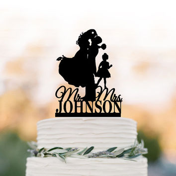 personalized Wedding Cake topper with child mr and mrs, bride and groom cake topper with girl, unique custom cake topper for wedding