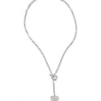 Sterling Silver Cubic Zirconia Double Heart Toggle Necklace