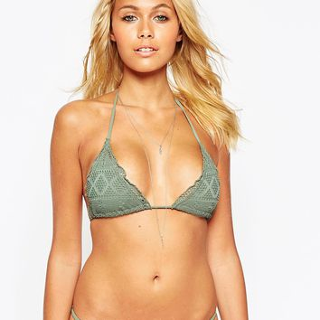 ASOS Crochet Lace Triangle Bikini Top