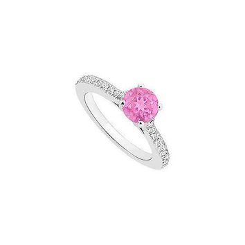 Pink Sapphire and Diamond Engagement Ring : 14K White Gold - 0.50 CT TGW