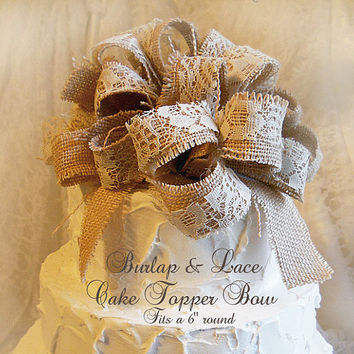 "Burlap & Lace Cake Topper Bow, fits a 6"" round cake. Made to order."