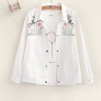 Flowers and embroidery Turn-down Collar long-sleeved girl Windbreaker jacket  coat
